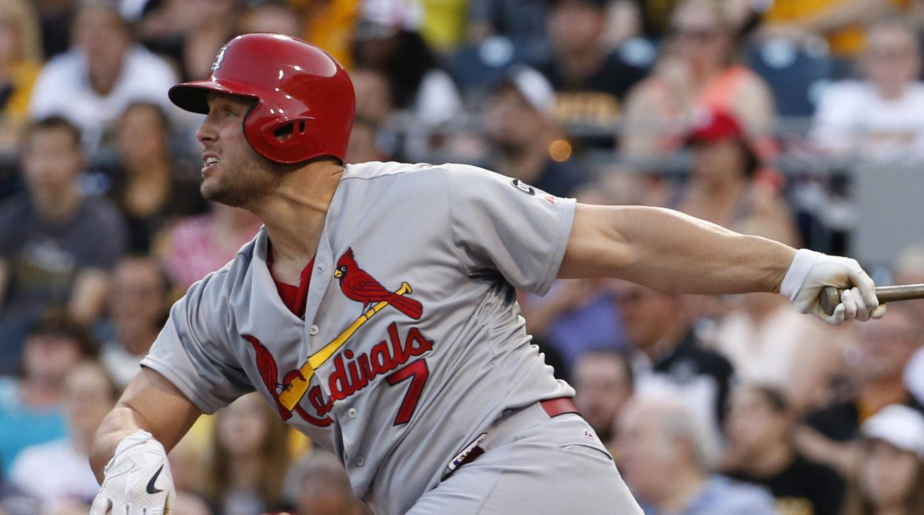 St. Louis Cardinals' Matt Holliday hits a three-run home run off Pittsburgh Pirates starting pitcher Francisco Liriano in the third inning of a baseball game Friday, May 8, 2015, in Pittsburgh. (AP Photo/Gene J. Puskar)