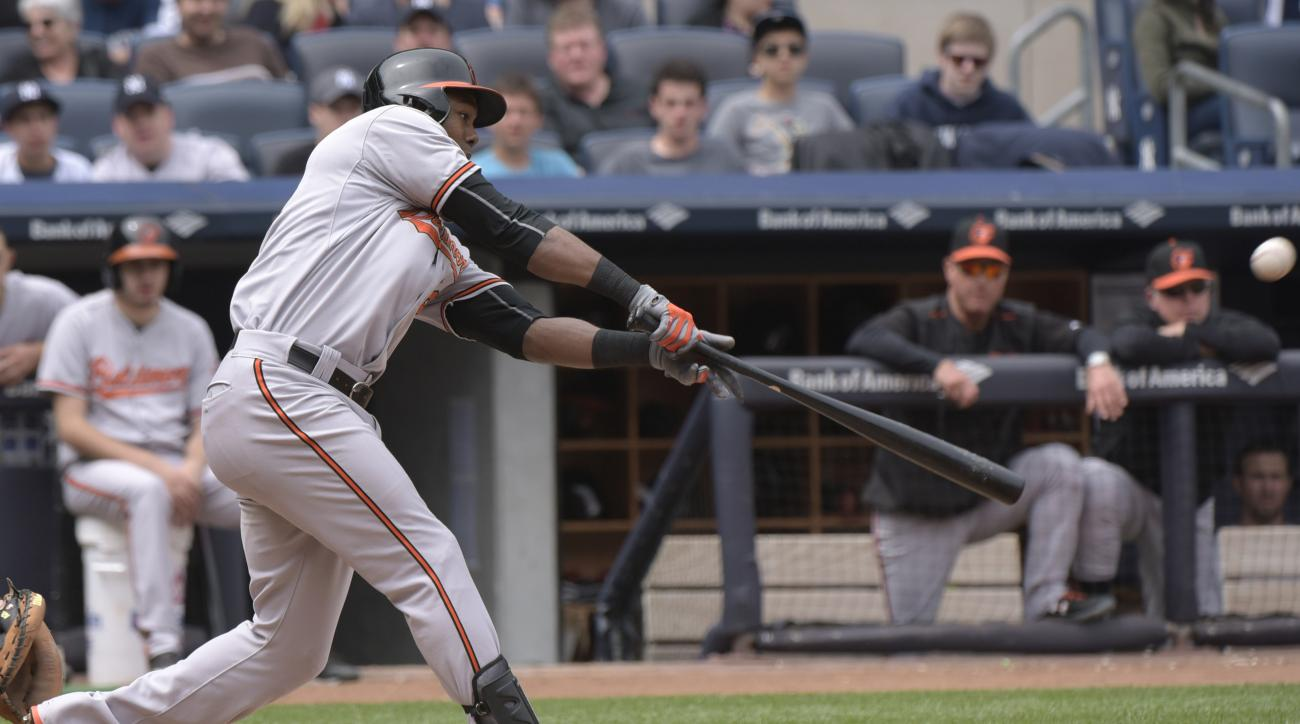 Baltimore Orioles' Alejandro De Aza hits a two-run home run during the fourth inning of a baseball game against the New York Yankees Saturday, May 9, 2015, at Yankee Stadium in New York. (AP Photo/Bill Kostroun)
