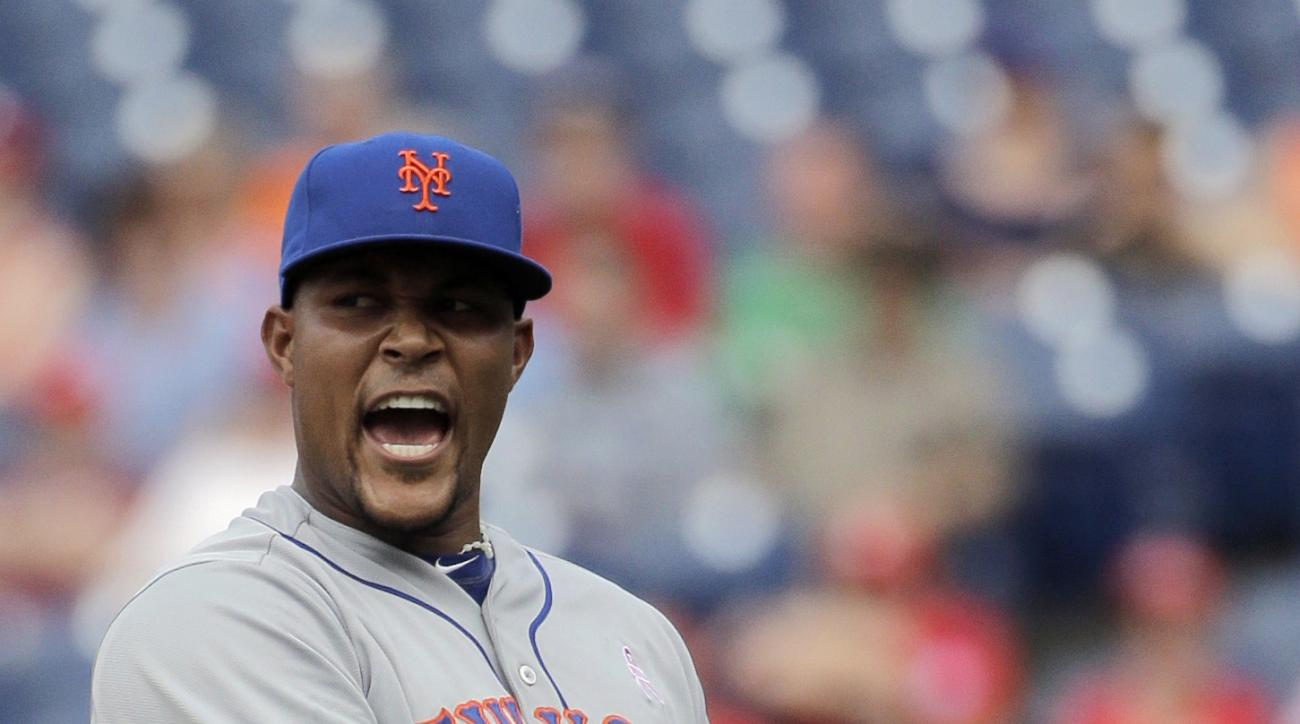 New York Mets relief pitcher Jeurys Familia reacts after getting Philadelphia Phillies' Freddy Galvis to foul out to end a baseball game, Sunday, May 10, 2015, in Philadelphia. New York won 7-4. (AP Photo/Matt Slocum)