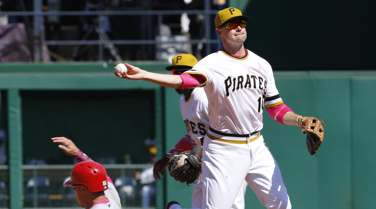 Pittsburgh Pirates shortstop Jordy Mercer, right, relays the ball on to first after forcing St. Louis Cardinals' Kolten Wong out at second on the front half of a double play hit by Jhonny Peralta to end the Cardinals' seventh inning of a baseball game, Su
