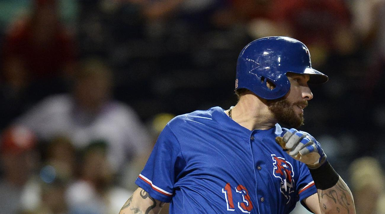 Texas Rangers' Josh Hamilton bats in the fifth inning against the Nashville Sounds on Monday, May 11, 2015, in Nashville, Tenn. Hamilton is playing for the Round Rock Express AAA minor league baseball team before rejoining the Rangers after a rehab stint.