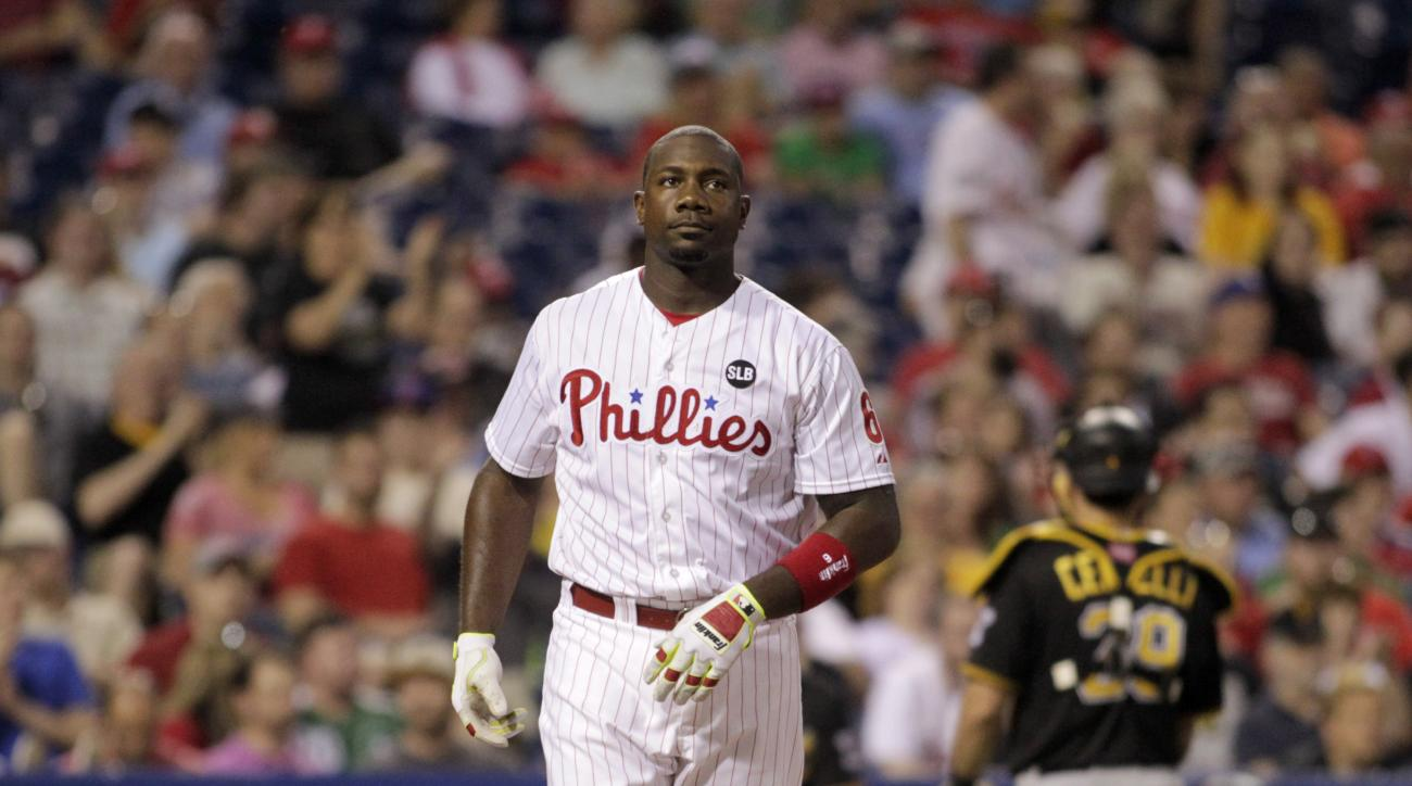 Philadelphia Philles' Ryan Howard strikes out against Pittsburgh Pirates to end the fourth inning of a baseball game, Tuesday, May 12, 2015 in Philadelphia. (AP Photo/H. Rumph Jr.)