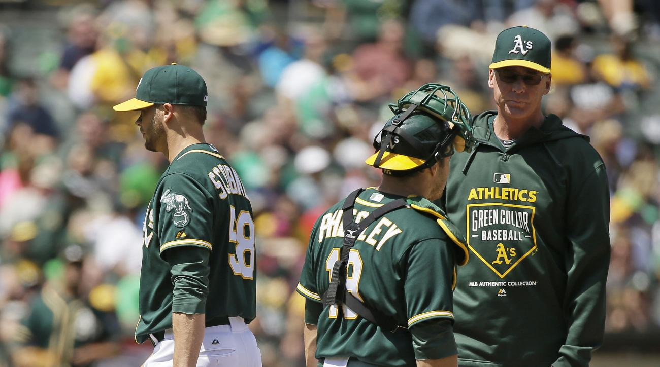 Oakland Athletics relief pitcher Evan Scribner, left, heads for the dugout after being removed by manager Bob Melvin, right, in the eighth inning of their baseball game against the Boston Red Sox Wednesday, May 13, 2015, in Oakland, Calif. Looking on is A