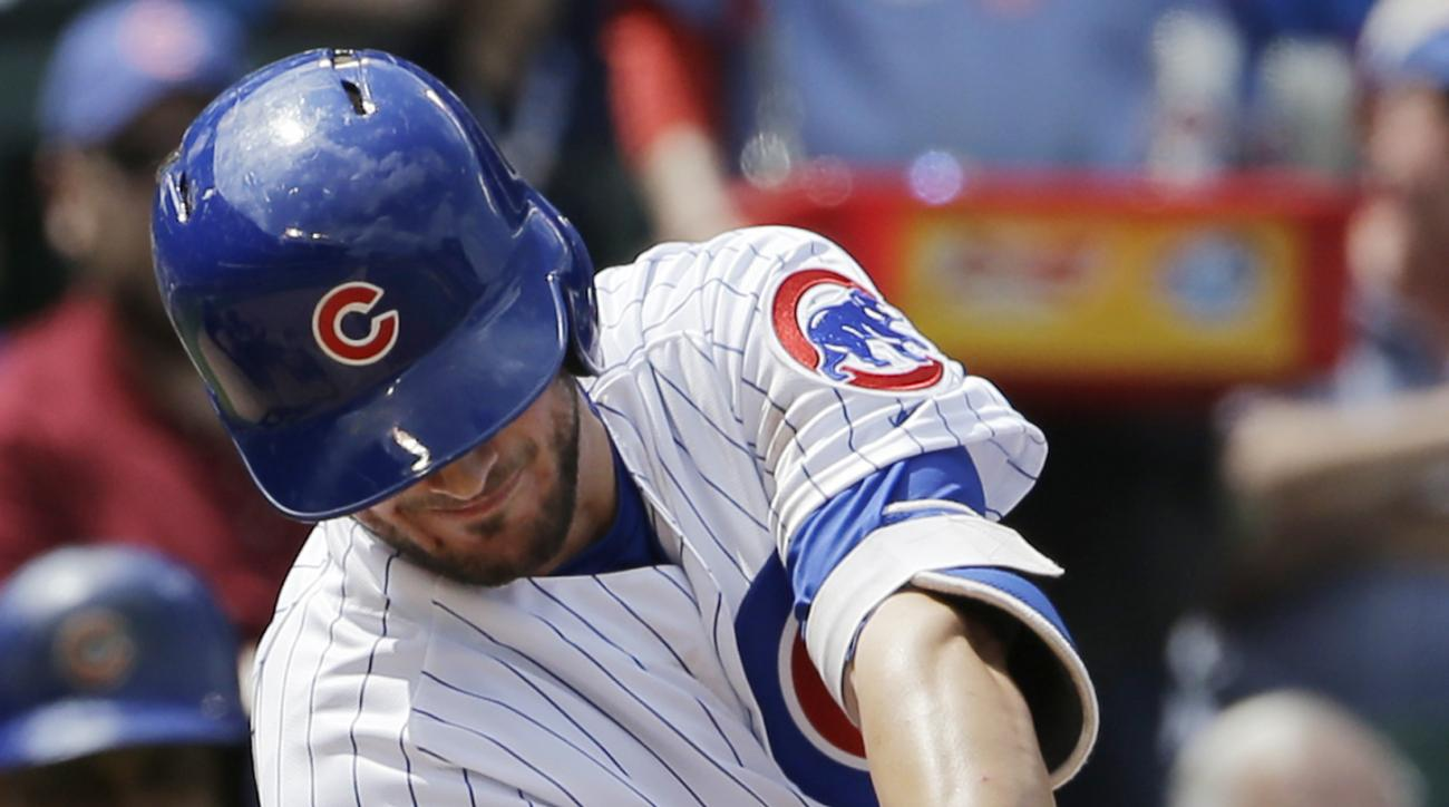 Chicago Cubs' Kris Bryant hits a three-run home run during the third inning of a baseball game against the Pittsburgh Pirates in Chicago, Friday, May  15, 2015. (AP Photo/Nam Y. Huh)
