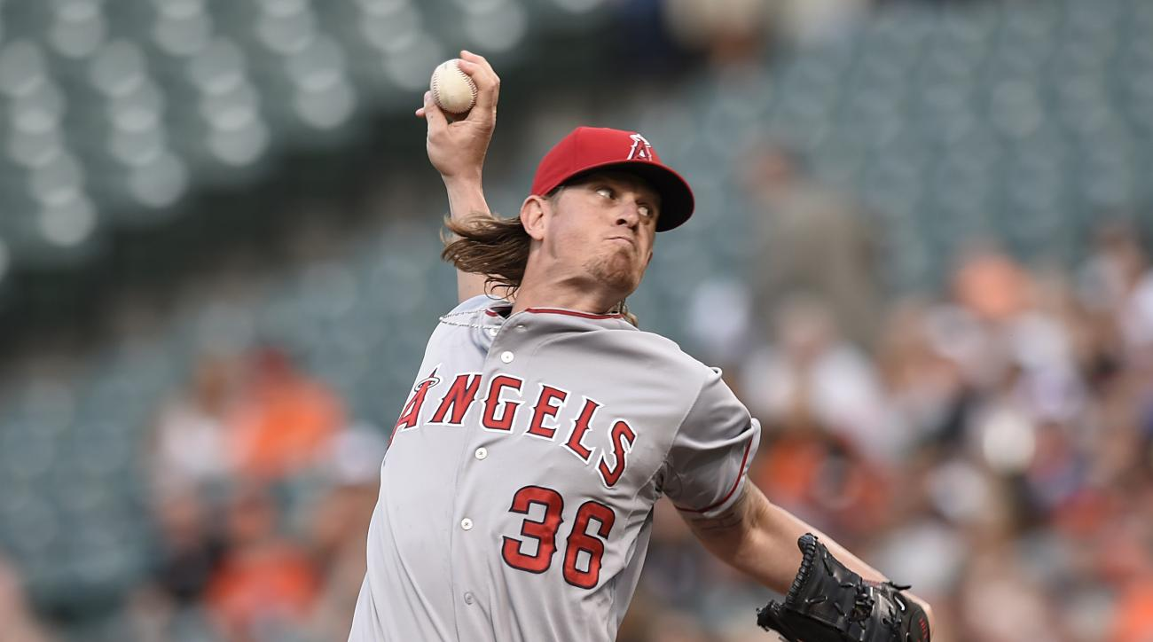 Los Angeles Angels starting pitcher Jered Weaver delivers against the Baltimore Orioles in the first inning of a baseball game Friday, May 15, 2015 in Baltimore. (AP Photo/Gail Burton)