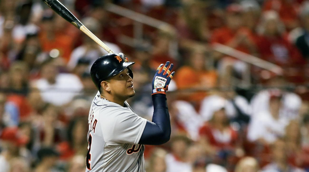 Detroit Tigers' Miguel Cabrera follows through on his two run home run during the seventh inning of a baseball game against the St. Louis Cardinals Friday, May 15, 2015, in St. Louis. (AP Photo/Scott Kane)