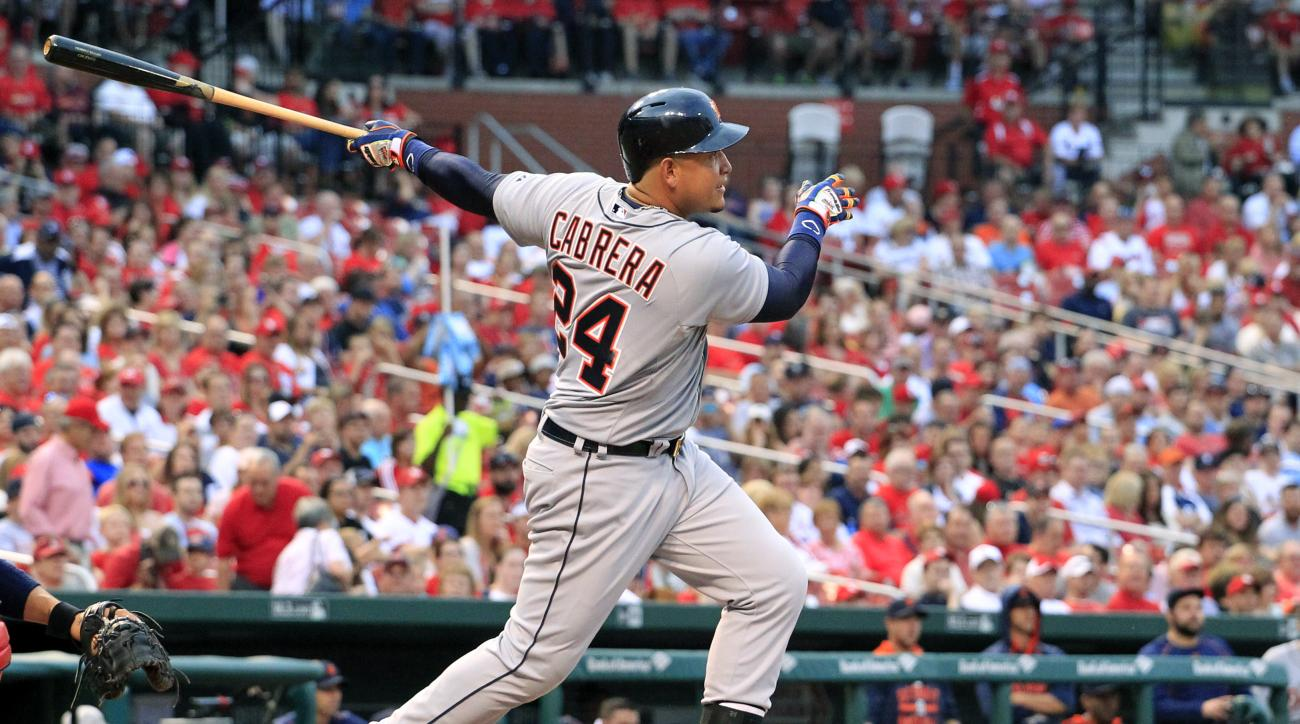 Detroit Tigers' Miguel Cabrera follows through on an RBI double during the first inning of a baseball game against the St. Louis Cardinals Sunday, May 17, 2015, in St. Louis. (AP Photo/Jeff Roberson)