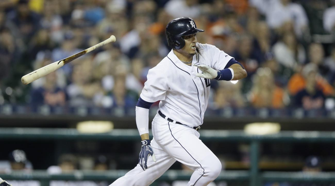 Detroit Tigers designated hitter Victor Martinez runs to first during the eighth inning of an interleague baseball game against the Milwaukee Brewers, Monday, May 18, 2015, in Detroit. (AP Photo/Carlos Osorio)