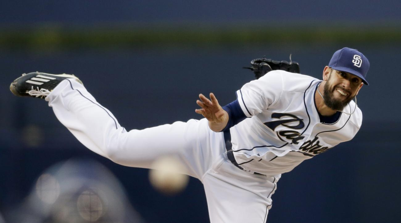 San Diego Padres starting pitcher James Shields throws to a Chicago Cubs batter during the first inning in a baseball game Tuesday, May 19, 2015, in San Diego. (AP Photo/Gregory Bull)
