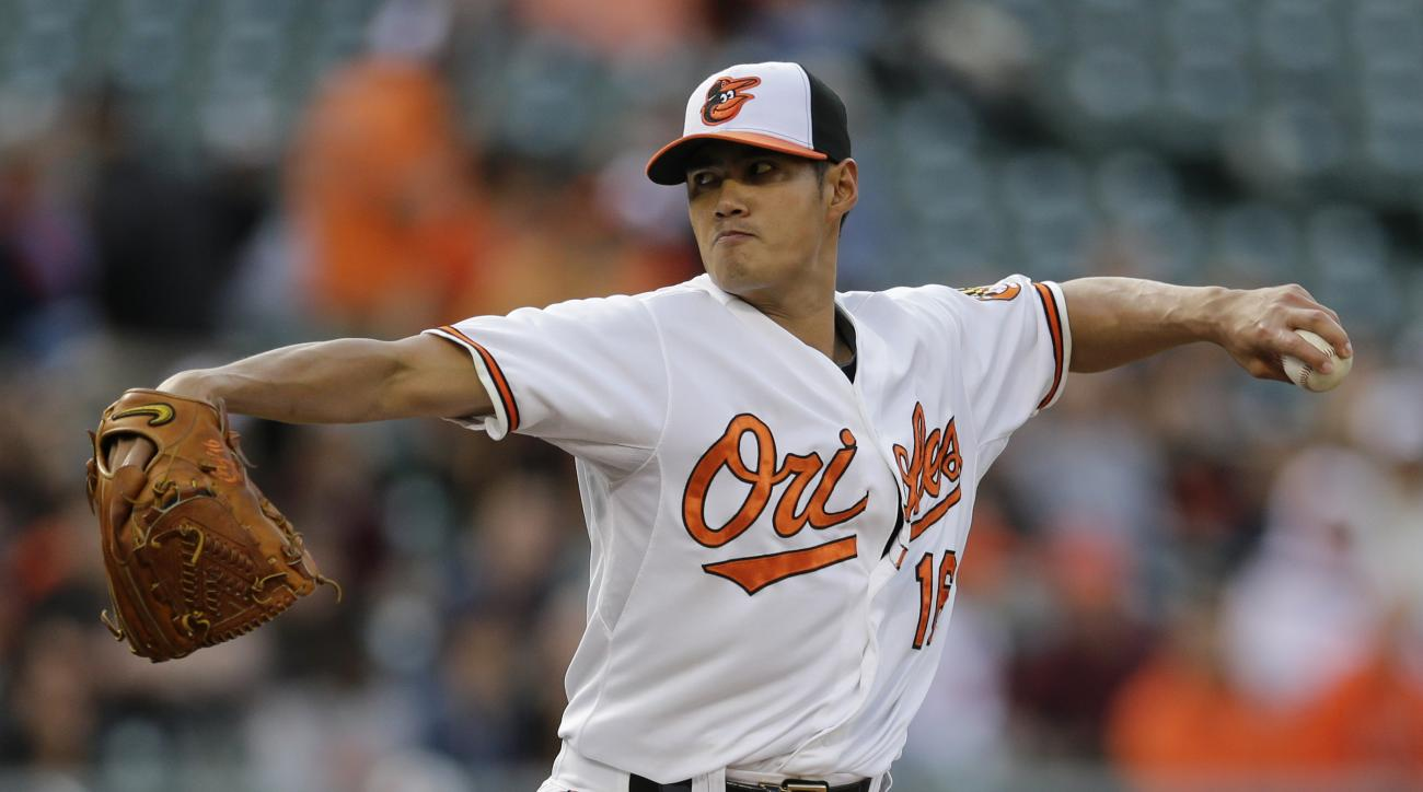 Baltimore Orioles starting pitcher Wei-Yin Chen, of Taiwan, throws to the Seattle Mariners in the first inning of a baseball game, Wednesday, May 20, 2015, in Baltimore. (AP Photo/Patrick Semansky)