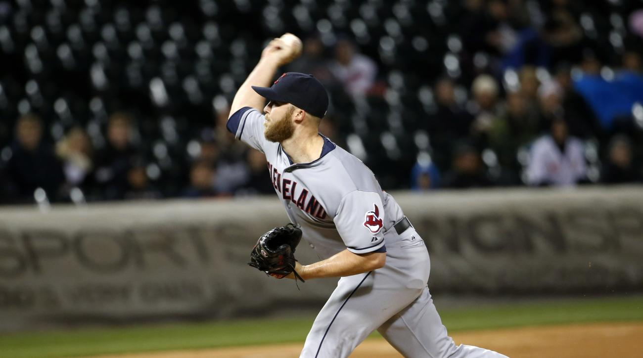 Cleveland Indians relief pitcher Cody Allen delivers during the ninth inning of a baseball game against the Chicago White Sox Wednesday, May 20, 2015, in Chicago. The Indians won 4-3. (AP Photo/Charles Rex Arbogast)