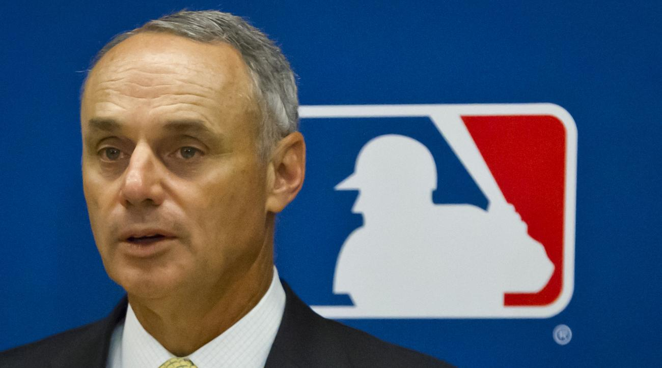 Baseball commissioner Rob Manfred speaks during a press conference after his first owners' meeting as baseball commissioner, Thursday, May 21, 2015, in New York. (AP Photo/Bebeto Matthews)