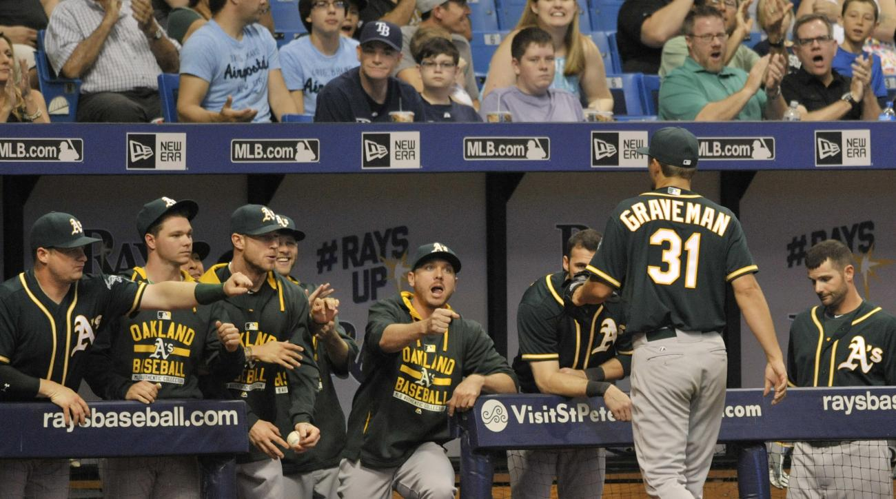 Oakland Athletics teammates greet starting pitcher Kendall Graveman (31) from the dugout after he was pulled during the seventh inning of a baseball game against the Tampa Bay Rays Saturday, May 23, 2015, in St. Petersburg, Fla. (AP Photo/Steve Nesius)