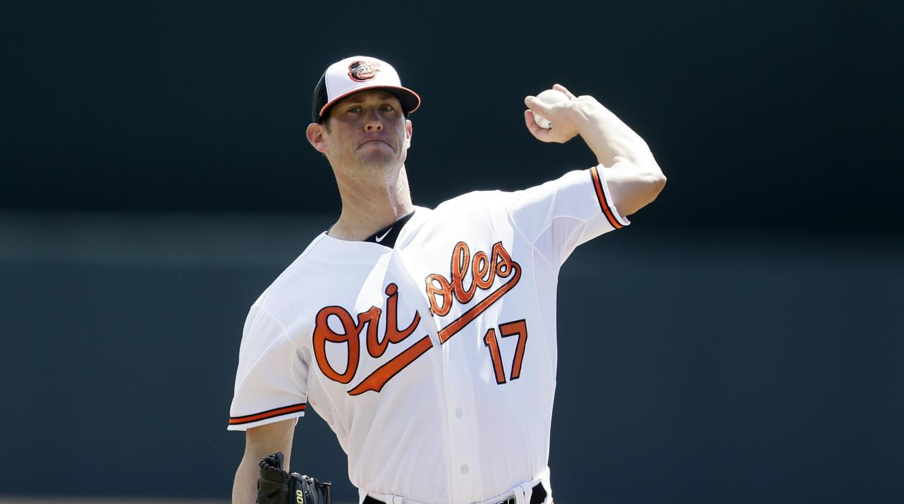 Baltimore Orioles pitcher Brian Matusz throws warmup pitches before the first inning of a spring training exhibition baseball game against the Tampa Bay Rays in Sarasota, Fla., Saturday, March 14, 2015. (AP Photo/Carlos Osorio)