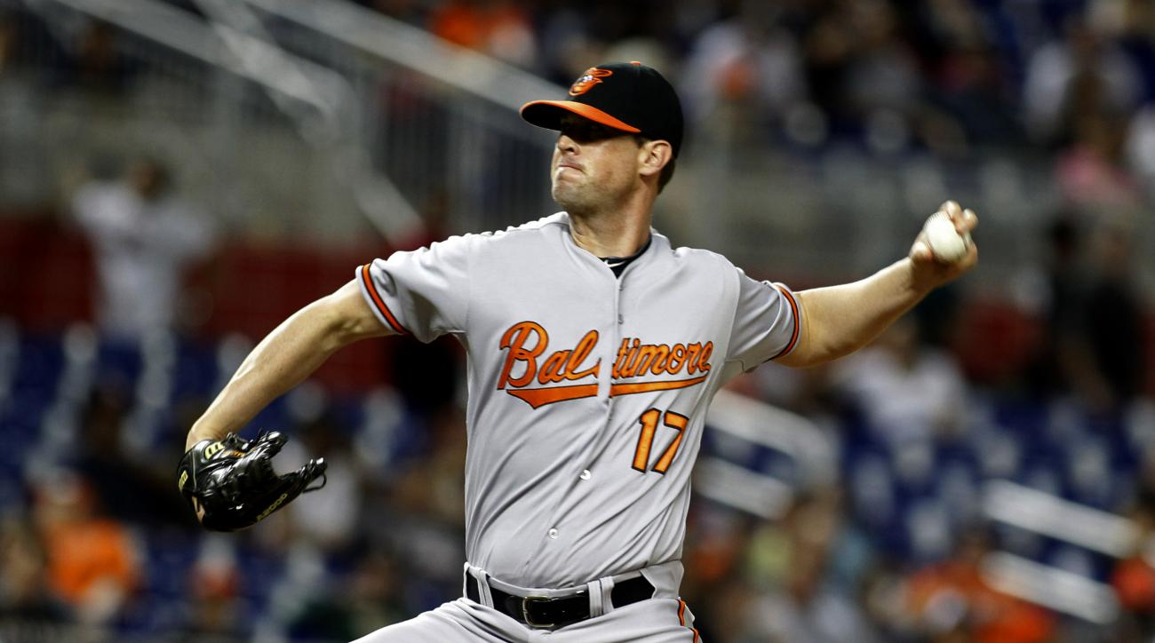 Baltimore Orioles relief pitcher Brian Matusz throws against the Miami Marlins during the 12th inning during a baseball game in Miami, Saturday, May 23, 2015. Matusz left the game after his forearm was inspected by umpires. The Marlins won 1-0. (AP Photo/
