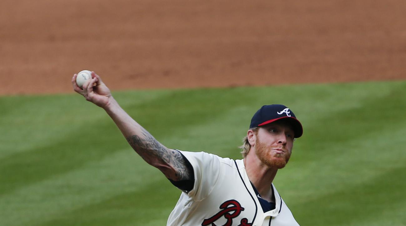 Atlanta Braves starting pitcher Mike Foltynewicz (48) delivers in the fifth inning of a baseball game against the Milwaukee Brewers, Sunday, May 24, 2015, in Atlanta. (AP Photo/John Bazemore)