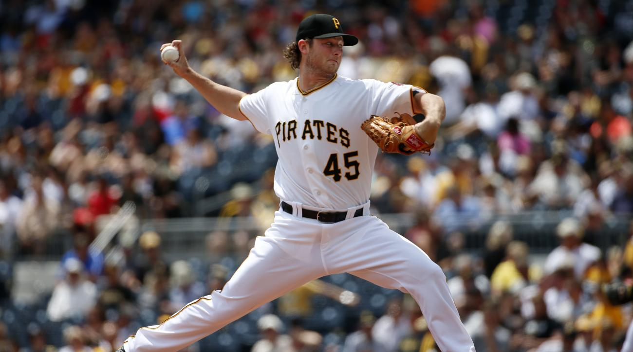 Pittsburgh Pirates' Gerrit Cole (45) delivers during the second inning of a baseball game against the Miami Marlins in Pittsburgh, Wednesday, May 27, 2015. (AP Photo/Gene J. Puskar)