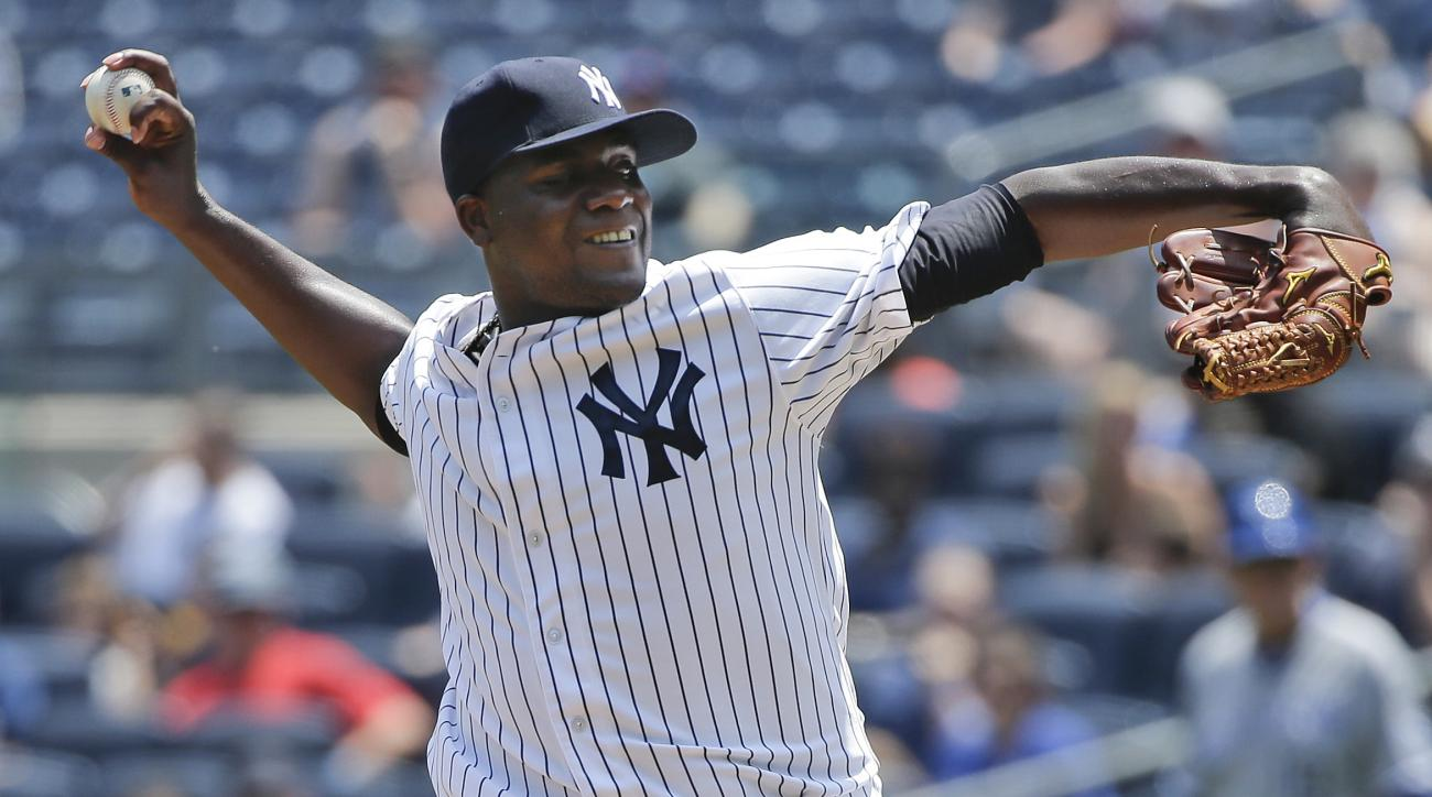 New York Yankees pitcher Michael Pineda (35) delivers against the Kansas City Royals during the first inning of a baseball game, Wednesday, May 27, 2015, in New York. (AP Photo/Julie Jacobson)