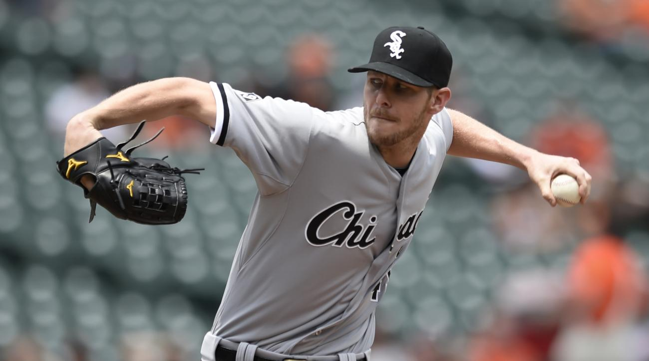 Chicago White Sox pitcher Chris Sale delivers against the Baltimore Orioles in the first inning of the first baseball game of a doubleheader Thursday, May 28, 2015, in Baltimore. (AP Photo/Gail Burton)