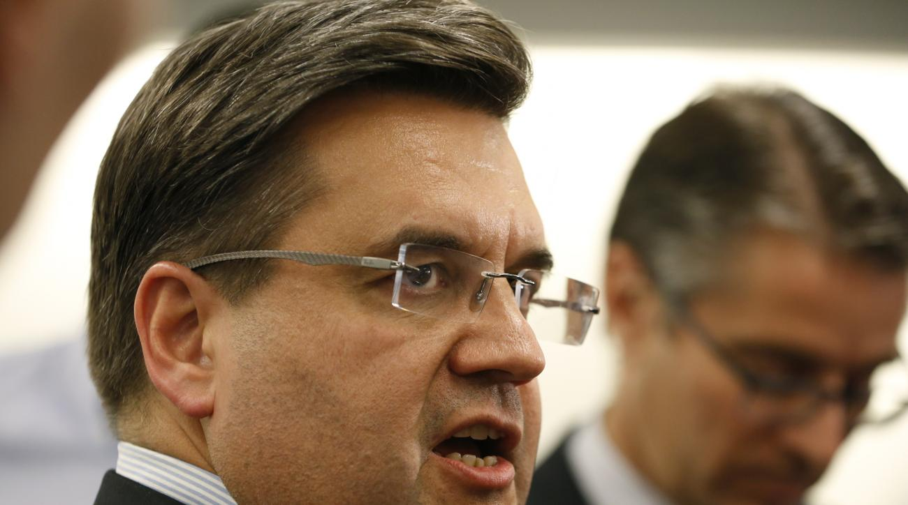 Montreal Mayor Denis Coderre speaks to reporters at a press conference following his private meeting with Major League Baseball Commissioner Rob Manfred at Major League Baseball headquarters, Thursday, May 28, 2015, in New York. Coderre is seeking to brin