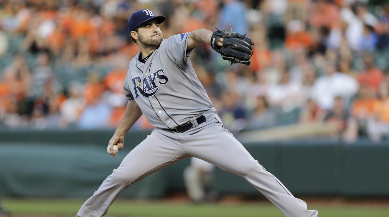 Tampa Bay Rays starting pitcher Nathan Karns throws to the Baltimore Orioles in the first inning of a baseball game, Friday, May 29, 2015, in Baltimore. (AP Photo/Patrick Semansky)