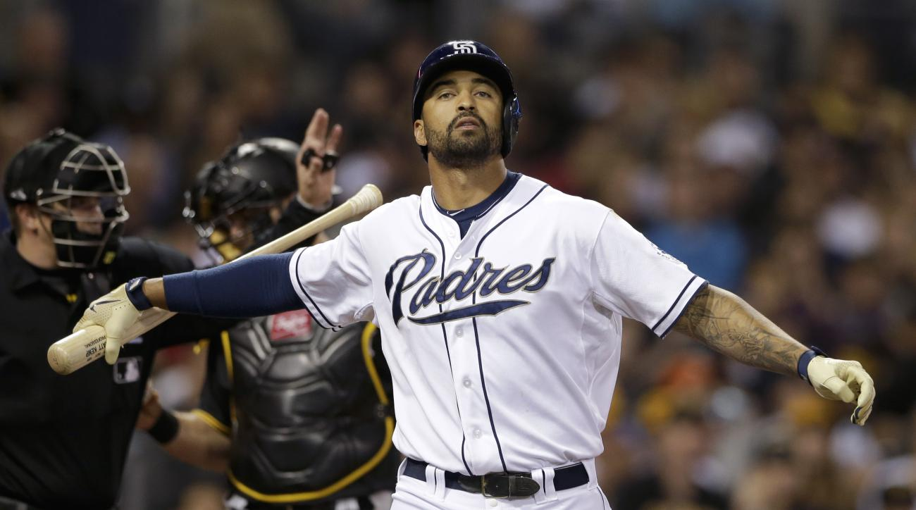 San Diego Padres' Matt Kemp strikes out while batting against the Pittsburgh Pirates during the fourth inning of a baseball game Friday, May 29, 2015, in San Diego. (AP Photo/Gregory Bull)