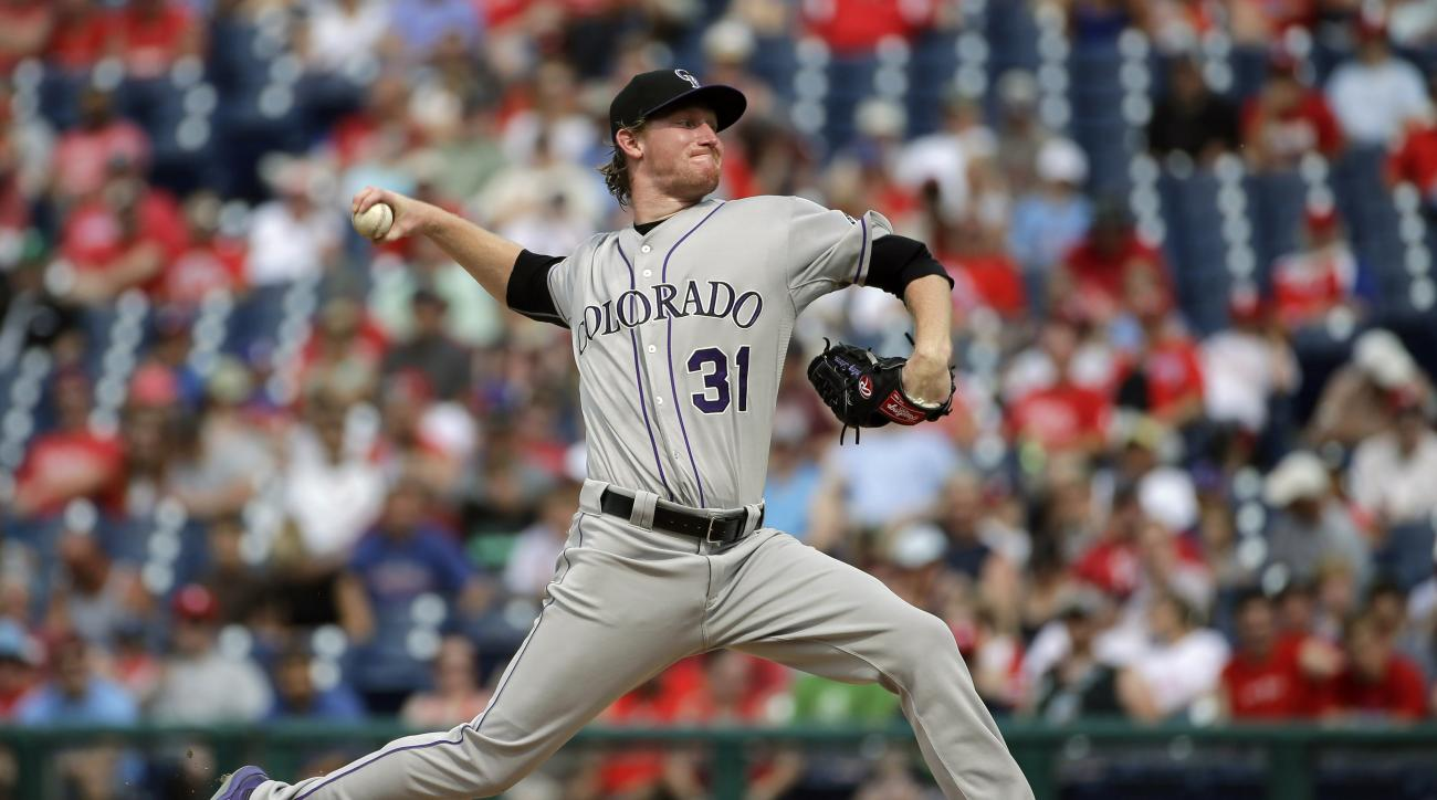 Colorado Rockies' Eddie Butler pitches during the second inning of a baseball game against the Philadelphia Phillies, Saturday, May 30, 2015, in Philadelphia. (AP Photo/Matt Slocum)