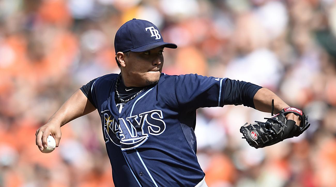 Tampa Bay Rays pitcher Erasmo Ramirez delivers against the Baltimore Orioles in the first inning of a baseball game Saturday, May 30, 2015, in Baltimore. (AP Photo/Gail Burton)