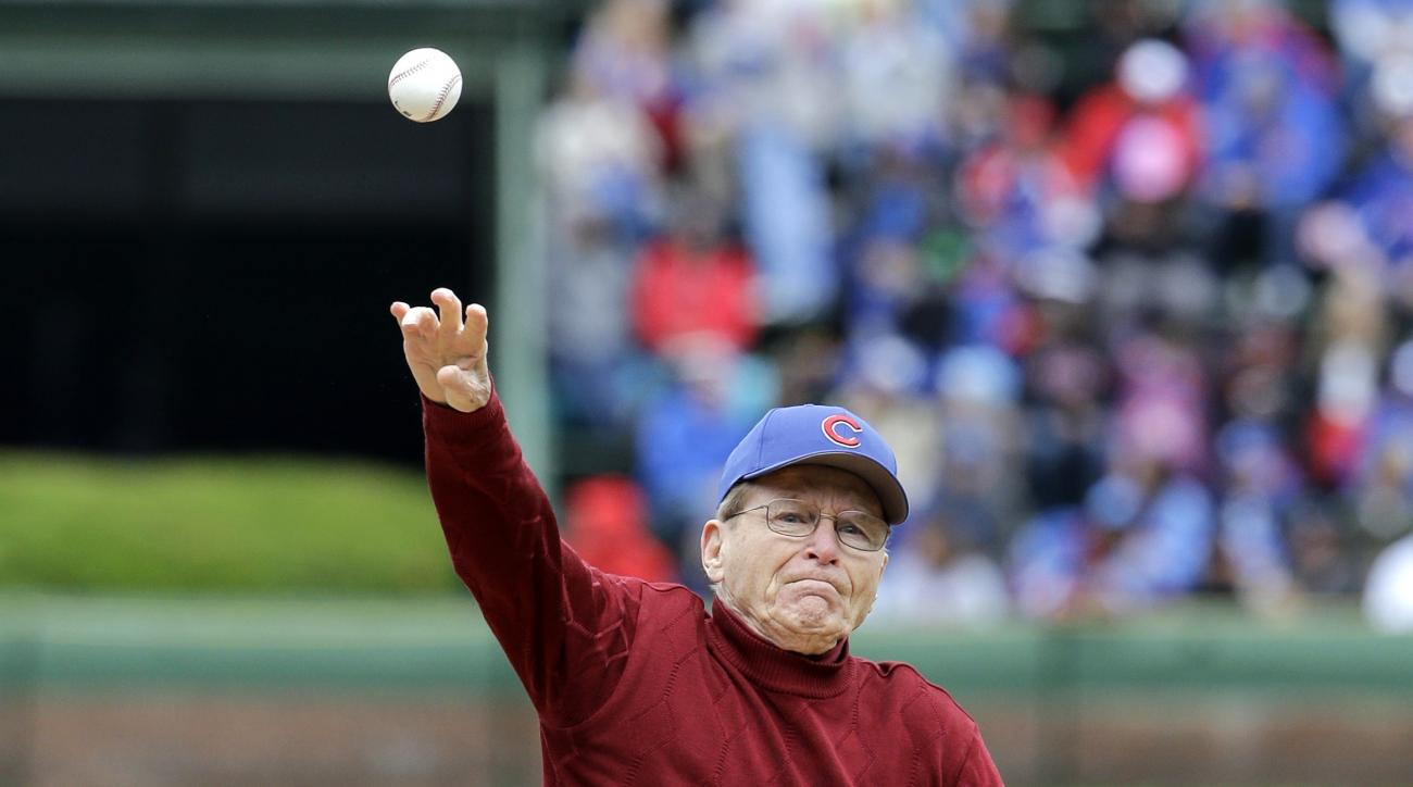 Tony Gianunzio throws out a ceremonial first pitch before an interleague baseball game between the Kansas City Royals and the Chicago Cubs Sunday, May 31, 2015, in Chicago. More than 70 years after he hoped to make his major league debut, World War II vet
