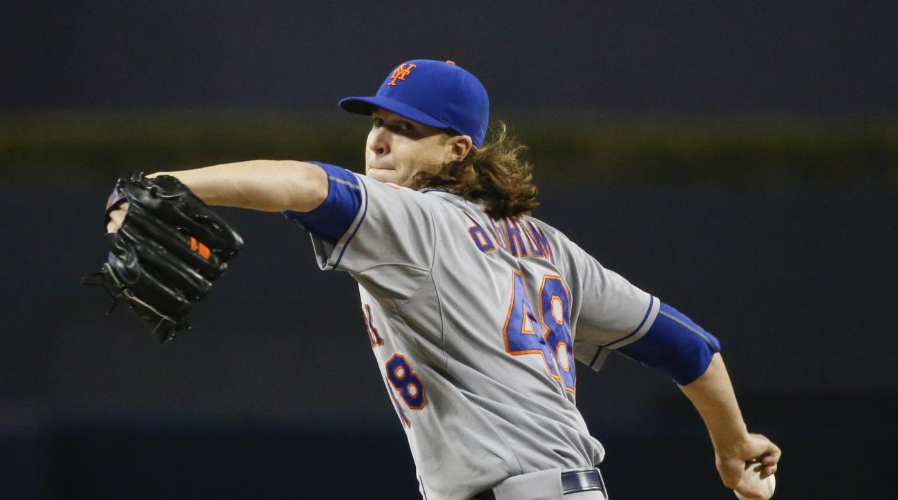 New York Mets' Jacob deGrom throws against the San Diego Padres in the eighth inning of a baseball game Monday, June 1, 2015, in San Diego. deGrom went eight inning and allowed two hits in the Mets' 7-0 victory.  (AP Photo/Lenny Ignelzi)