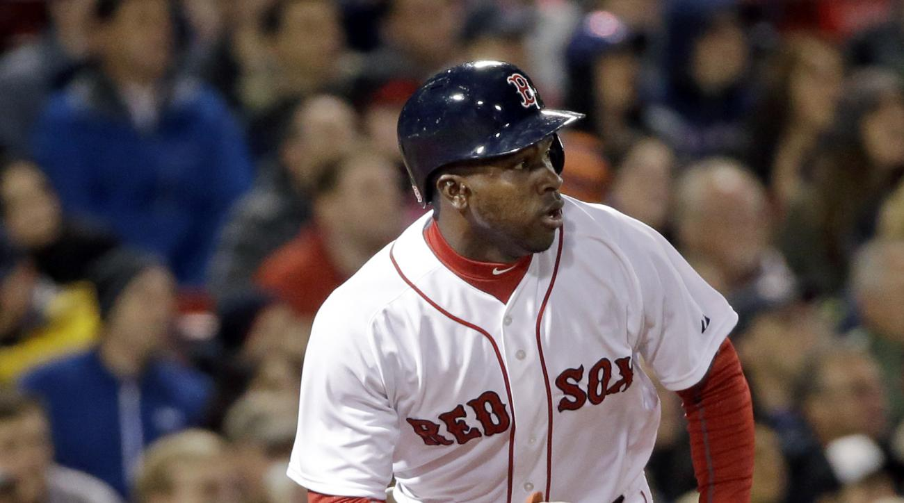 Boston Red Sox's Rusney Castillo watches his single which drove in Xander Bogaerts during the seventh inning of a baseball game against the Minnesota Twins at Fenway Park on Tuesday, June 2, 2015, in Boston. (AP Photo/Elise Amendola)