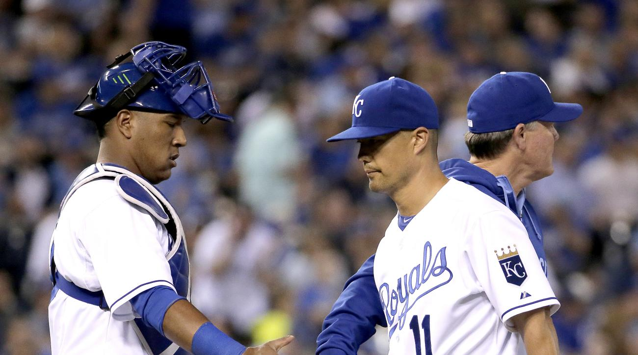 Kansas City Royals starting pitcher Jeremy Guthrie (11) comes out of the baseball game during the sixth inning against the Cleveland Indians on Tuesday, June 2, 2015, in Kansas City, Mo. (AP Photo/Charlie Riedel)