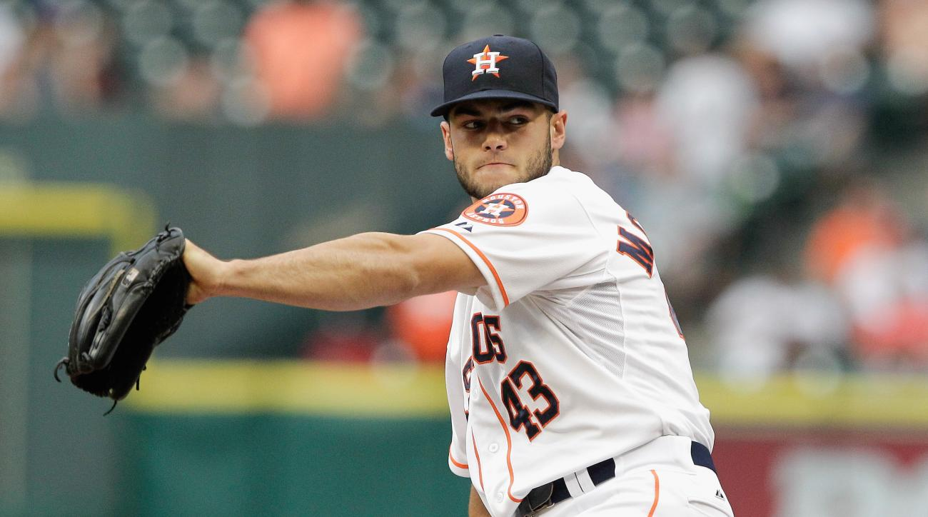 Houston Astros' Lance McCullers (43) pitches in the first inning of a baseball game, against the Baltimore Orioles, Wednesday, June 3, 2015 in Houston. (AP Photo/Bob Levey)