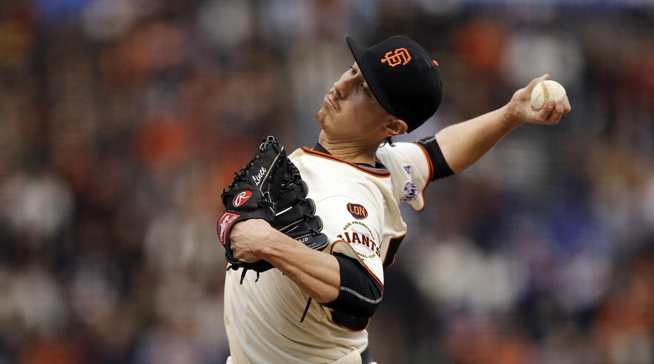 FILE - In this May 20, 2015, file photo, San Francisco Giants' Tim Lincecum pitches against the Los Angeles Dodgers during the first inning of a baseball game in San Francisco. Lincecum had to adjust everything about his craft in order to resurrect his po