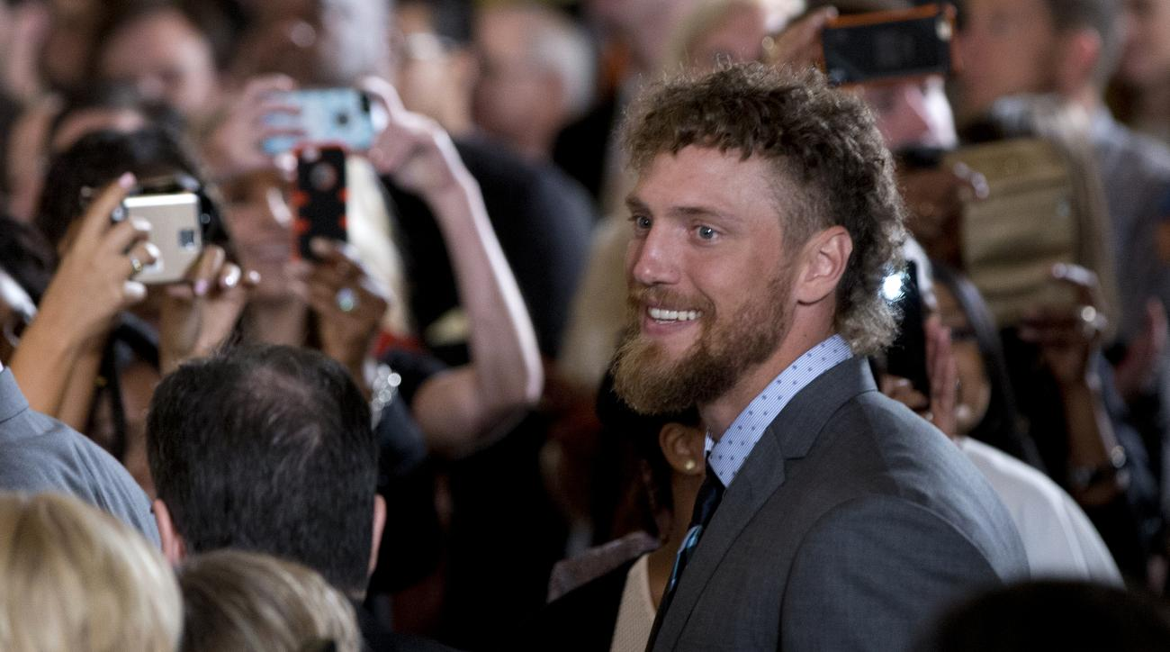 San Francisco Giants right fielder Hunter Pence arrives for a ceremony in East Room of the White House in Washington, Thursday, June 4, 2015, where President Barack Obama honored the team and their 2014 World Series baseball victory. (AP Photo/Carolyn Kas