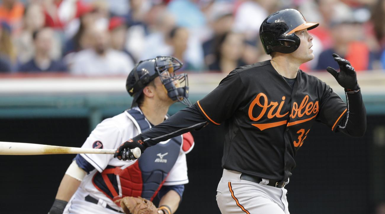 Baltimore Orioles' Matt Wieters, right, watches his RBI-double off Cleveland Indians starting pitcher Shaun Marcum in the fourth inning of a baseball game, Friday, June 5, 2015, in Cleveland. Chris Davis scored on the play. Indians catcher Yan Gomes, left