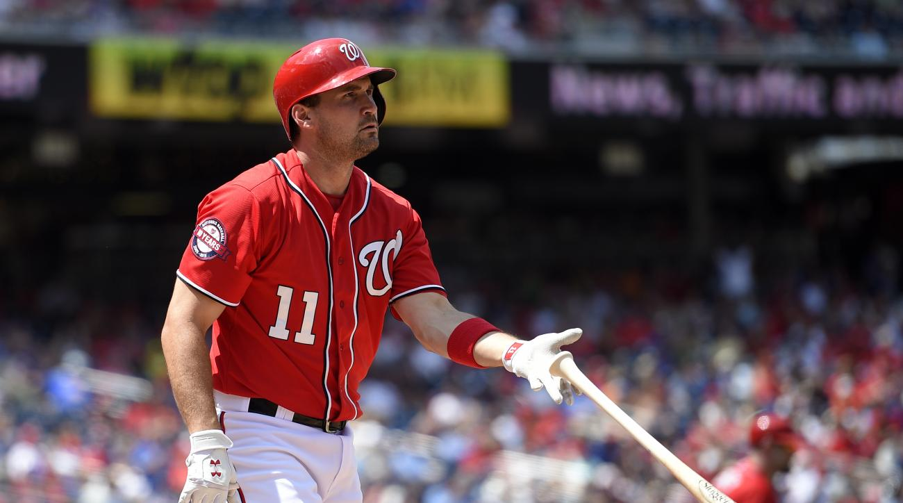 Washington Nationals' Ryan Zimmerman reacts after he struck out during the eighth inning of a baseball game against the Chicago Cubs, Saturday, June 6, 2015, in Washington. The Cubs won 4-2. (AP Photo/Nick Wass)