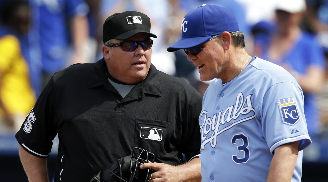 Kansas City Royals manager Ned Yost (3) argues the last out with home plate umpire Fieldin Culbreth (25) following a baseball game against the Texas Rangers at Kauffman Stadium in Kansas City, Mo., Saturday, June 6, 2015. The Rangers defeated the Royals 4