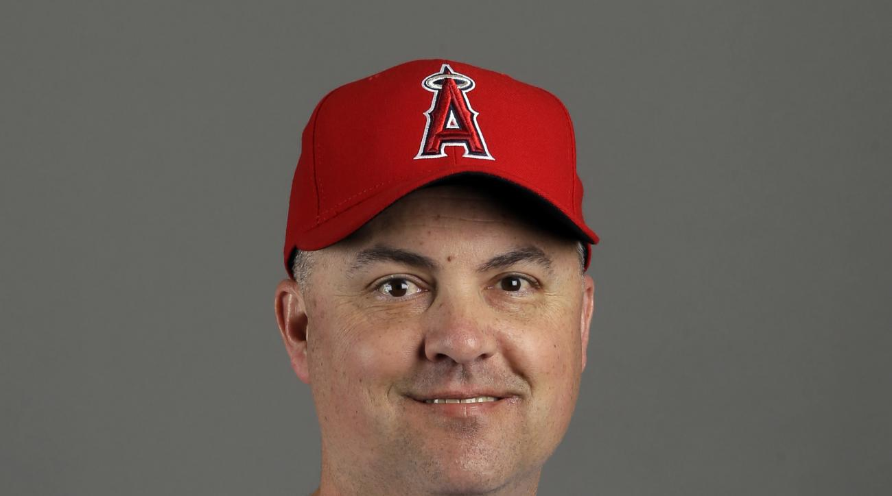 This Feb. 28, 2015 photo shows Los Angeles Angels coach Rico Brogna. Rico Brogna is back with the Los Angeles Angels following surgery for testicular cancer, Saturday, June 6, 2015.(AP Photo/Morry Gash)