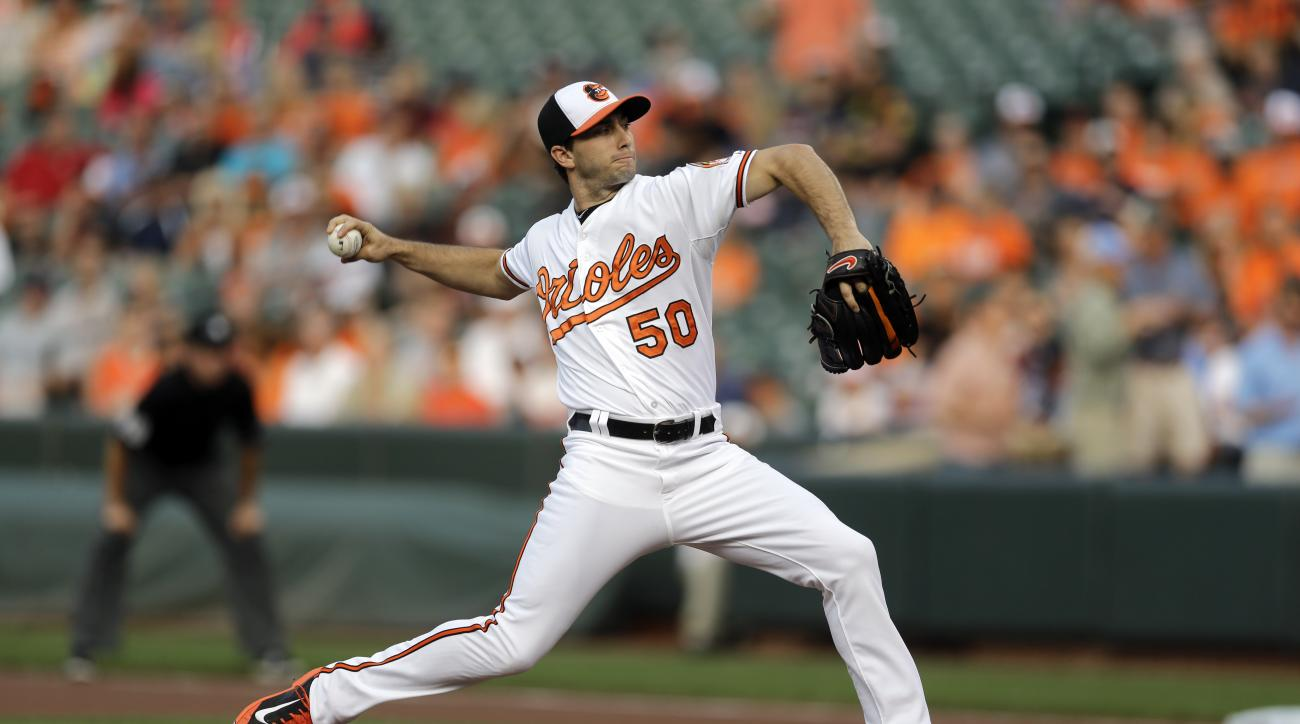 Baltimore Orioles starting pitcher Miguel Gonzalez throws to the Boston Red Sox in the first inning of a baseball game, Tuesday, June 9, 2015, in Baltimore. (AP Photo/Patrick Semansky)