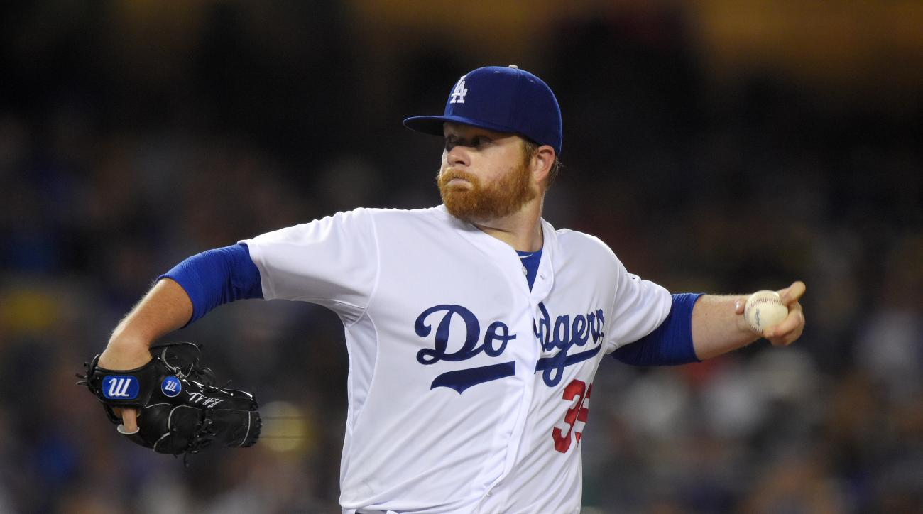 Los Angeles Dodgers starting pitcher Brett Anderson throws during the fourth inning of a baseball game against the Arizona Diamondbacks, Wednesday, June 10, 2015, in Los Angeles. (AP Photo/Mark J. Terrill)