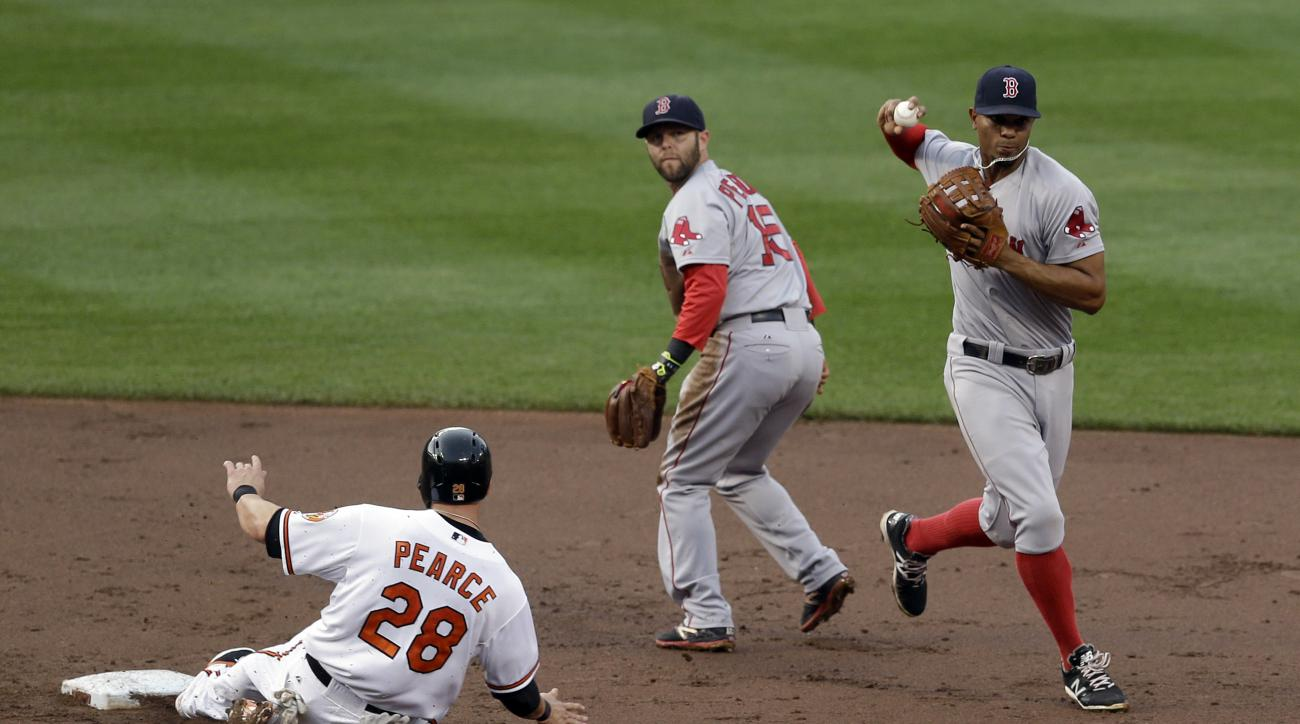Boston Red Sox shortstop Xander Bogaerts, right, throws to first base after forcing out Baltimore Orioles' Steve Pearce, left, at second on Ryan Flaherty's ground ball in the second inning of a baseball game, Thursday, June 11, 2015, in Baltimore. Flahert