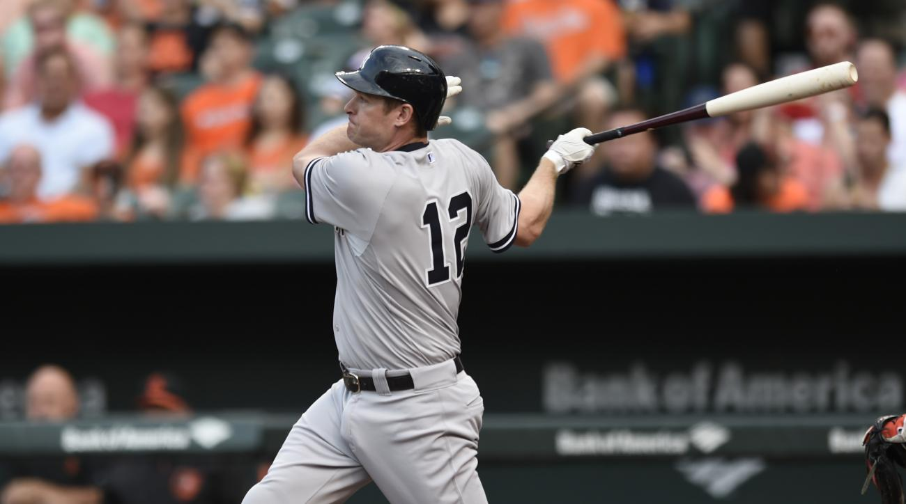 New York Yankees' Chase Headley follows through on a single in the first inning of a baseball game against the Baltimore Orioles, Friday, June 12, 2015, in Baltimore. (AP Photo/Gail Burton)