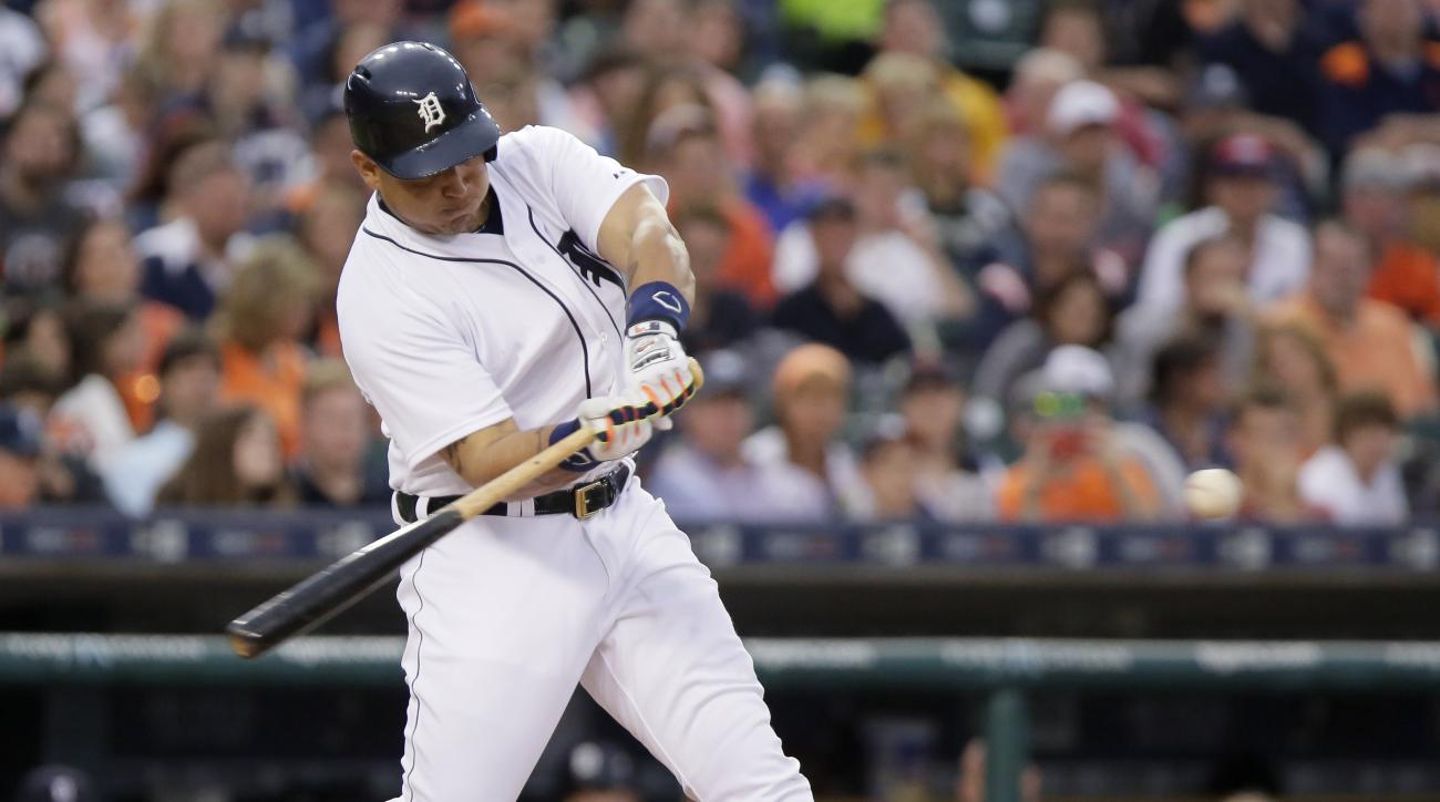 Detroit Tigers' Miguel Cabrera hits a three-run home run against the Cleveland Indians during the sixth inning of a baseball game Friday, June 12, 2015, in Detroit. (AP Photo/Duane Burleson)