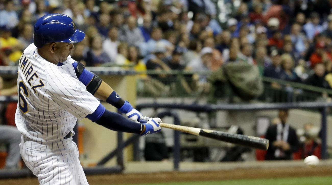 Milwaukee Brewers' Aramis Ramirez hits a two-run scoring double during the fourth inning of a baseball game against the Washington Nationals Friday, June 12, 2015, in Milwaukee. (AP Photo/Morry Gash)