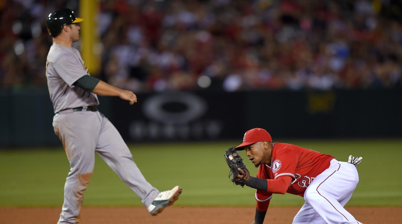 Oakland Athletics' Josh Phegley, left, is doubled off second by Los Angeles Angels shortstop Erick Aybar after Stephen Vogt lined into a double play during the seventh inning of a baseball game, Saturday, June 13, 2015, in Anaheim, Calif. (AP Photo/Mark J