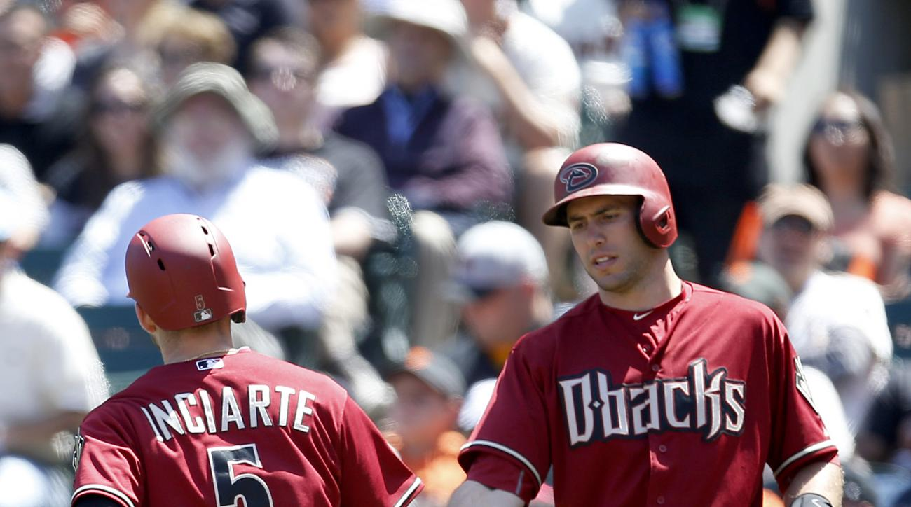 Arizona Diamondbacks' Ender Inciarte (5) is congratulated by teammate Paul Goldschmidt, right, after scoring a run against the San Francisco Giants in the sixth inning of a baseball game, Sunday, June 14, 2015, in San Francisco. (AP Photo/Tony Avelar)