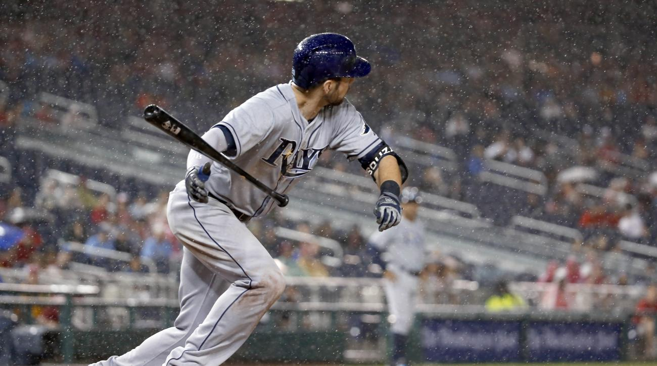 Tampa Bay Rays' Steven Souza Jr. runs after his bunt during the eighth inning of a baseball game at Nationals Park, Wednesday, June 17, 2015, in Washington. (AP Photo/Alex Brandon)