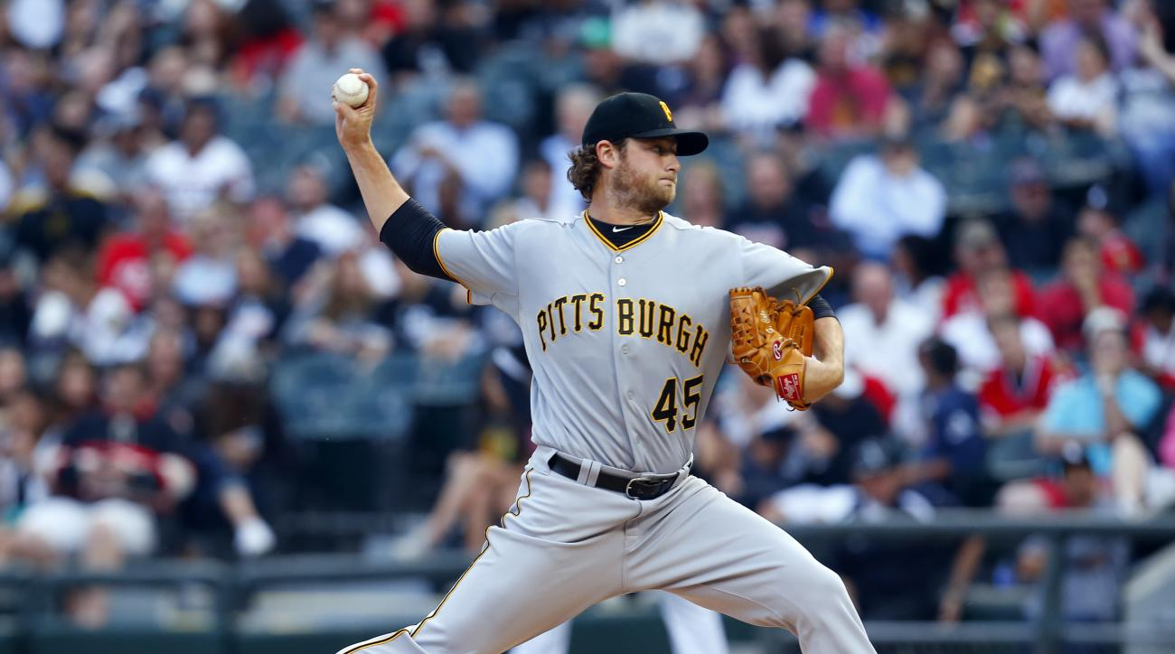 Pittsburgh Pirates starting pitcher Gerrit Cole (45) delivers a pitch during the first inning of a baseball game against the Chicago White Sox in Chicago, on Thursday, June 18, 2015. (AP Photo/Jeff Haynes)