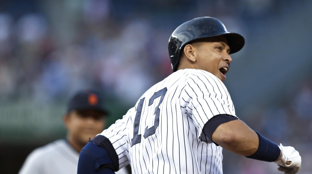 New York Yankees' Alex Rodriguez watches his 3,000th career hit, a home run during the first inning of a baseball game against the Detroit Tigers on Friday, June 19, 2015, in New York. (AP Photo/Frank Franklin II)